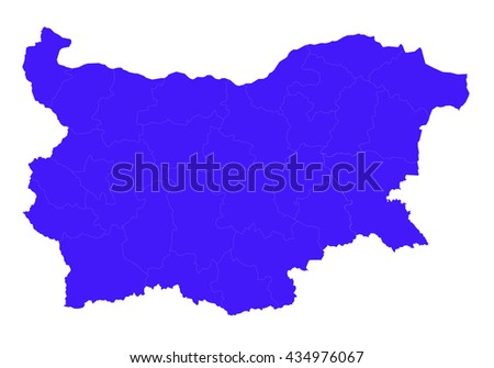 Vector map-bulgaria country on white background. blue color. - stock vector