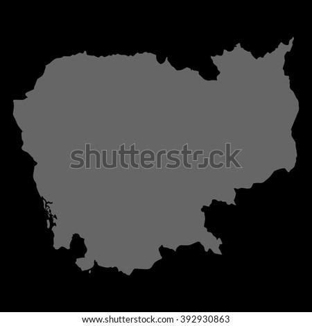 Vector map Cambodia. Gray on black background. EPS Illustration. - stock vector
