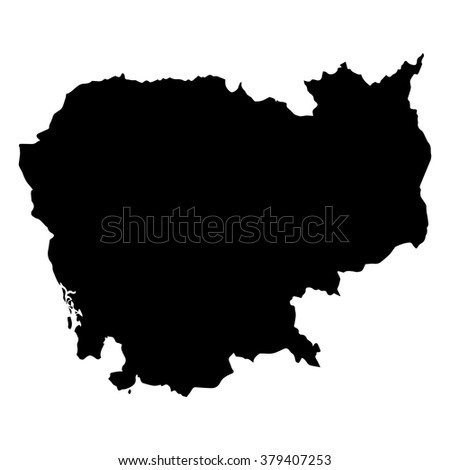 Vector map Cambodia. Isolated vector Illustration. Black on White background. EPS Illustration. - stock vector