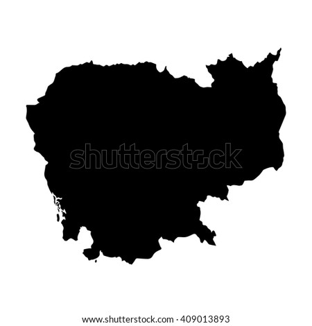 Vector map Cambodia. Isolated vector Illustration. Black on White background. EPS 8 Illustration. - stock vector