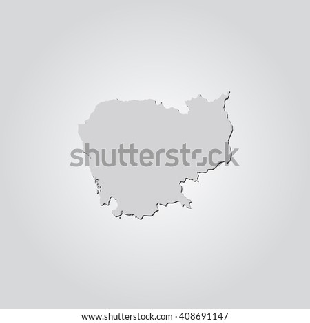 Vector map Cambodia. Isolated vector Illustration. Gray on Gradient background. With shadow. EPS 10 Illustration. - stock vector