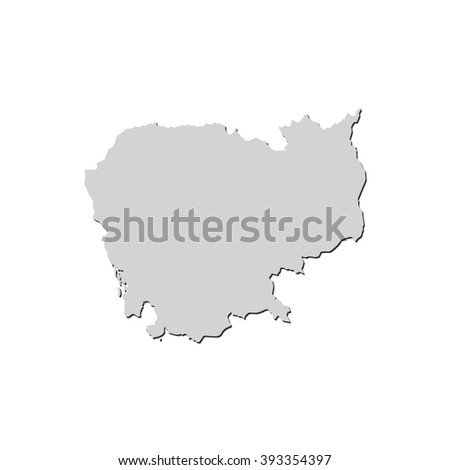 Vector map Cambodia. Isolated vector Illustration. Gray on White background. With shadow. EPS 10 Illustration. - stock vector