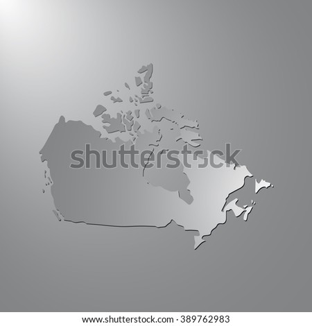 Vector map Canada. Gray background with gradient. Isolated vector Illustration. Gray on Gradient background. With shadow. EPS Illustration. - stock vector