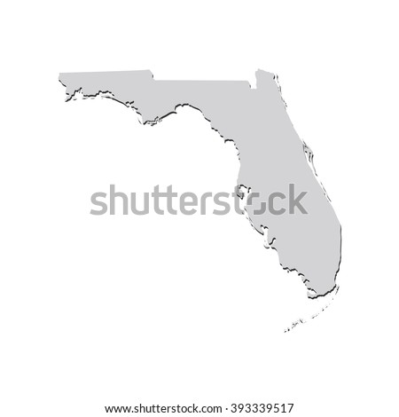 Vector map Florida. Isolated vector Illustration. Gray on White background. With shadow. EPS 10 Illustration. - stock vector