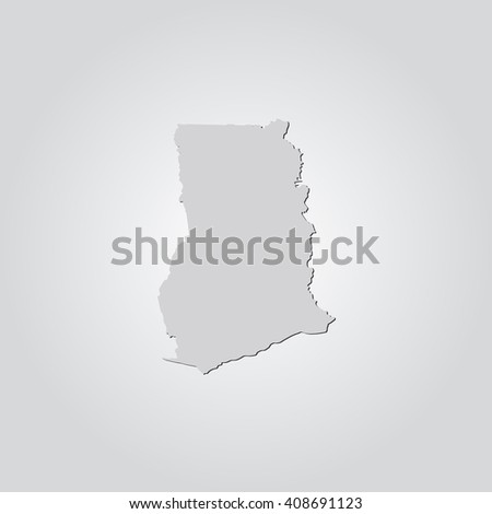 Vector map Ghana. Isolated vector Illustration. Gray on Gradient background. With shadow. EPS 10 Illustration. - stock vector