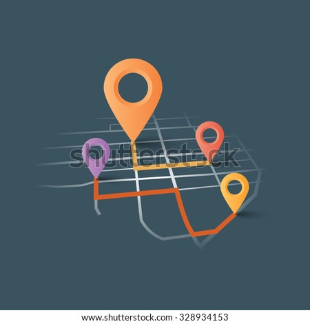 Vector map GPS navigator. - stock vector