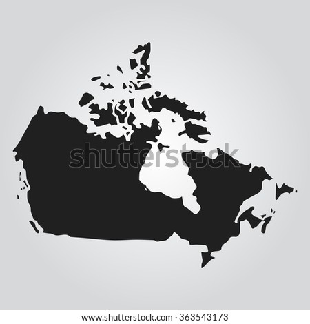 Vector map Gray Canada. Isolated vector Illustration. Black on Gradient background. EPS Illustration. - stock vector