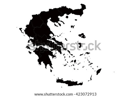Vector map-greece country on white background. - stock vector