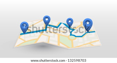Vector map icon with blue pointer. Location - stock vector