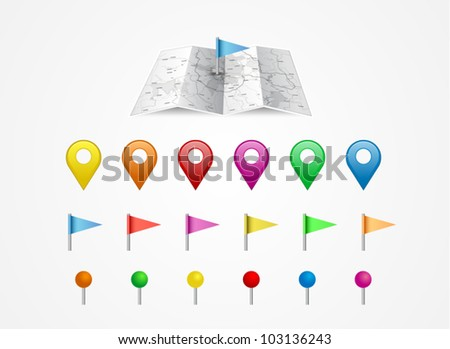 Vector map icon with gps icon set - stock vector