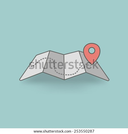 Vector map icon with Pin Pointer. Flat design. - stock vector