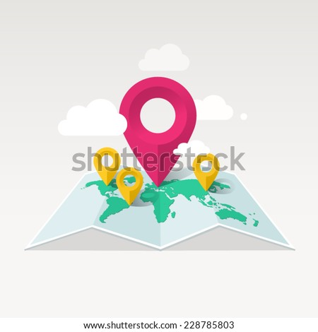 Vector map illustration with markers and clouds - stock vector