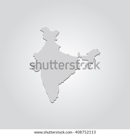 Vector map India. Isolated vector Illustration. Gray on Gradient background. With shadow. EPS 10 Illustration. - stock vector
