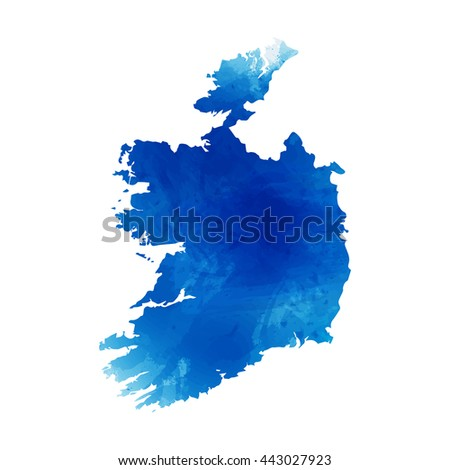 Vector map Ireland. Isolated vector Illustration. Watercolor effect. EPS 10 Illustration. - stock vector