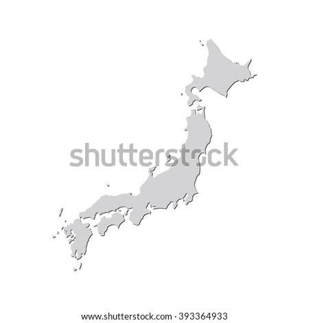Vector map Japan. Isolated vector Illustration. Gray on White background. With shadow. EPS 10 Illustration. - stock vector