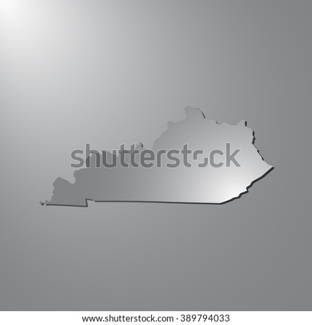 Vector map Kentucky. Gray background with gradient. Isolated vector Illustration. Gray on Gradient background. With shadow. EPS Illustration. - stock vector
