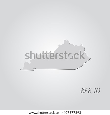 Vector map Kentucky. Isolated vector Illustration. Gray on Gradient background. With shadow. EPS 10 Illustration with an inscription. - stock vector