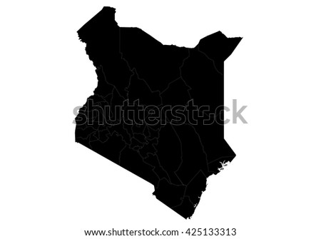 Vector map-kenya country on white background. - stock vector