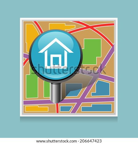 Vector map location icon with shadow on blue background - stock vector