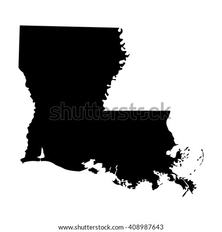Vector map Louisiana. Isolated vector Illustration. Black on White background. EPS 8 Illustration. - stock vector