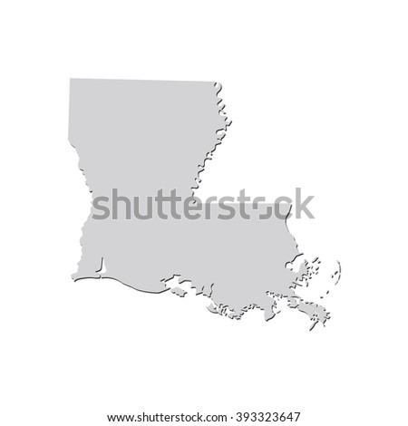 Vector map Louisiana. Isolated vector Illustration. Gray on White background. With shadow. EPS 10 Illustration. - stock vector