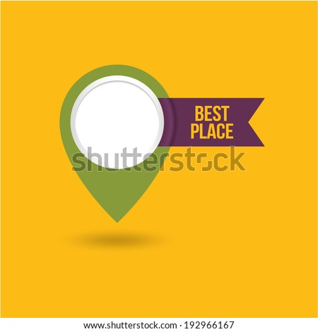 Vector map marker icon with places for text and image - stock vector