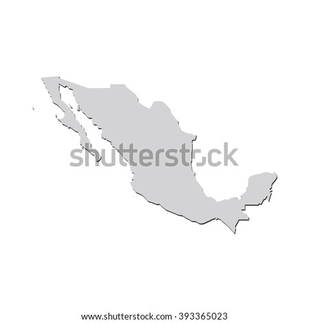 Vector map Mexico. Isolated vector Illustration. Gray on White background. With shadow. EPS 10 Illustration. - stock vector
