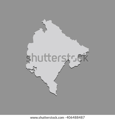 Vector map Montenegro. Gray Isolated vector Illustration. On Grey background. With shadow. EPS 10 Illustration. - stock vector
