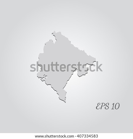Vector map Montenegro. Isolated vector Illustration. Gray on Gradient background. With shadow. EPS 10 Illustration with an inscription. - stock vector