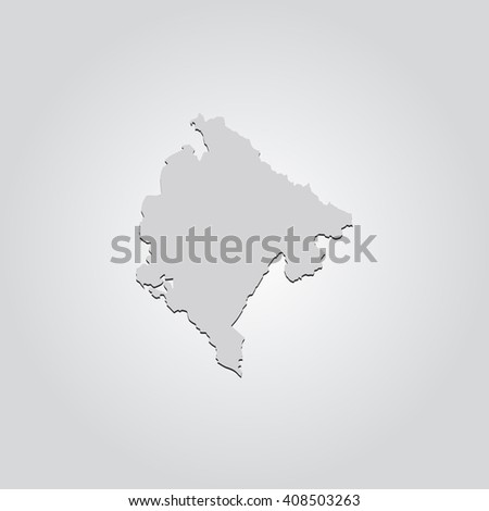 Vector map Montenegro. Isolated vector Illustration. Gray on Gradient background. With shadow. EPS 10 Illustration. - stock vector