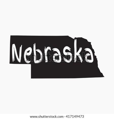 Vector map Nebraska. Gray Isolated vector Illustration. On Grey background. Typography design. EPS 8 Illustration. - stock vector