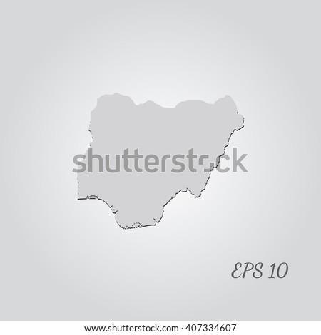 Vector map Nigeria. Isolated vector Illustration. Gray on Gradient background. With shadow. EPS 10 Illustration with an inscription. - stock vector