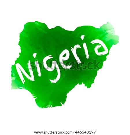Vector map Nigeria. Isolated vector Illustration. Green watercolor effect. Typography design. EPS 10 Illustration. - stock vector