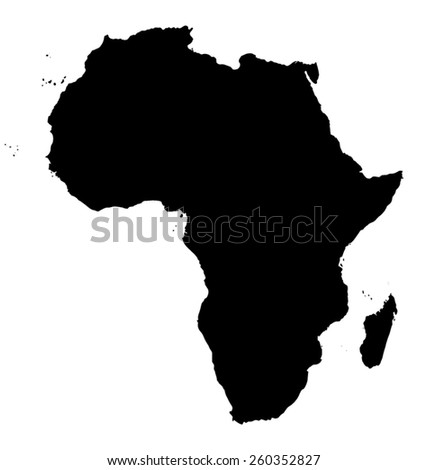 Vector Map of Africa. Black silhouette continent on white background - stock vector