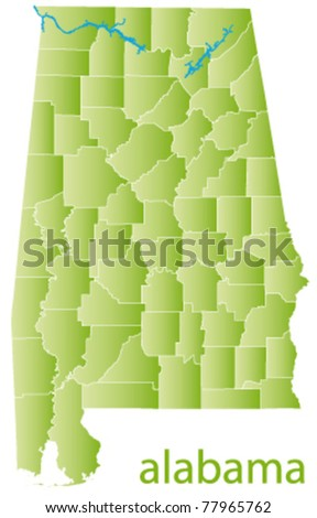 vector map of alabama state - stock vector
