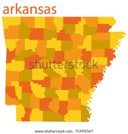 vector map of arkansas state, usa - stock vector