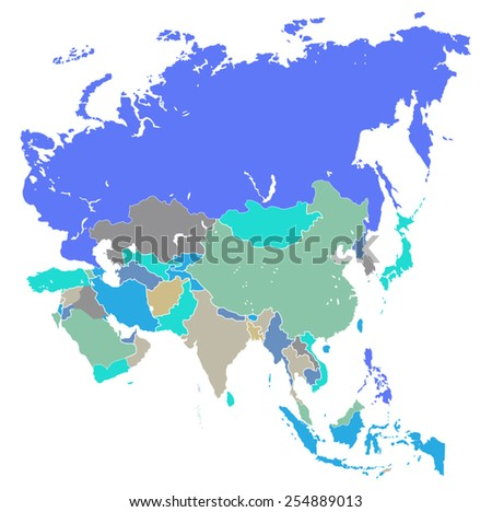vector map of Asia  - stock vector