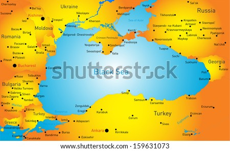 Vector map of Black sea region - stock vector