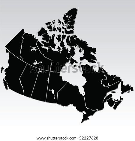 vector map of canada - stock vector