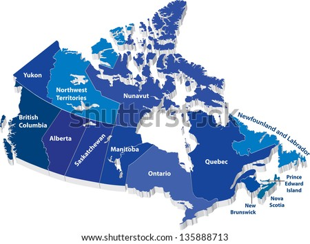 Vector map of Canada with territories - stock vector