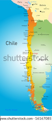 vector map of Chile country - stock vector