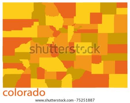 vector map of colorado state, usa - stock vector