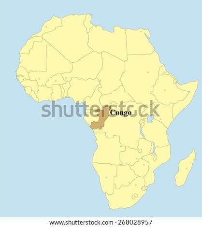 Vector map of Congo in Africa - stock vector