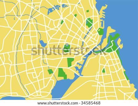 vector map of copenhagen. - stock vector