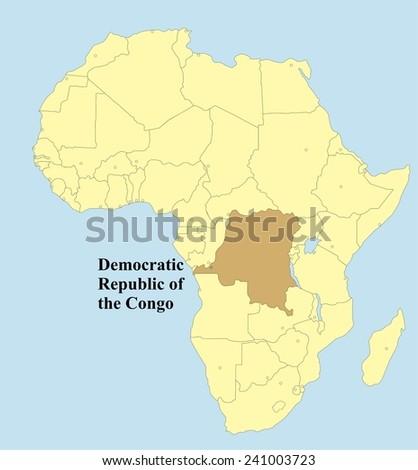 Vector map of Democratic Republic of the Congo in Africa  - stock vector