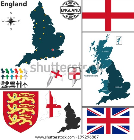 Vector map of England with coat of arms and location on United Kingdom map - stock vector
