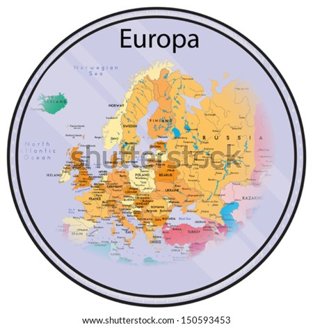 Vector map of Europe on the coin. All elements are editable. Made 2013 p. Map generated this from the open - stock vector