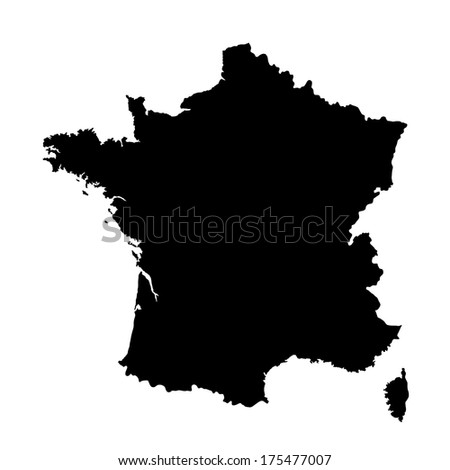 Vector map of France isolated on white background. High detailed. - stock vector