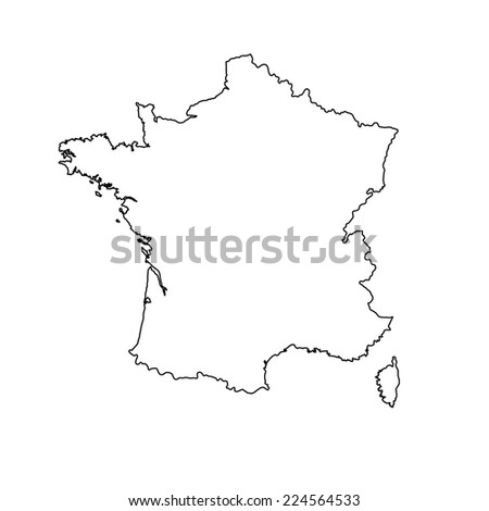 Vector map of France isolated on white background. High detailed. Outlined, contour.  - stock vector