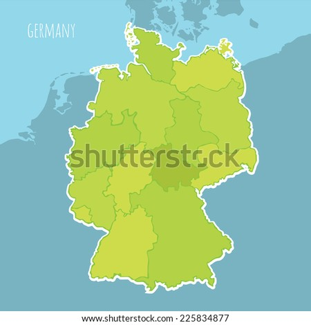 Vector map of Germany divided into the regions - stock vector
